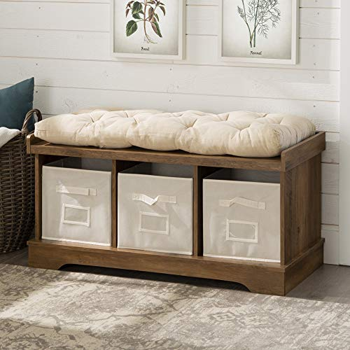 (WE Furniture AZ42STCRO Storage Bench Rustic)