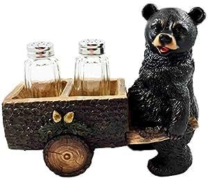 Whimsical Hardworking Black Bear Pushing Spice Cart Salt Pepper Shaker Holder Figurine Gift For Hunters Nature Lovers