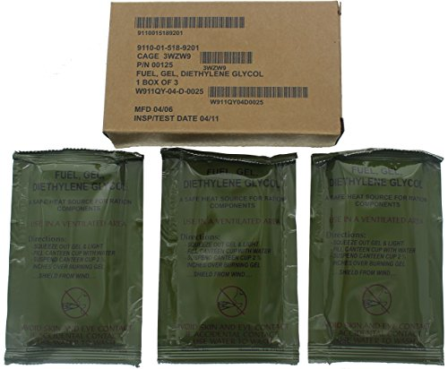 US Army GI Military Gel Fuel & Fire Starter - Mil Spec Diethylene Glycol Firestarter - USA Made, 3 Pack