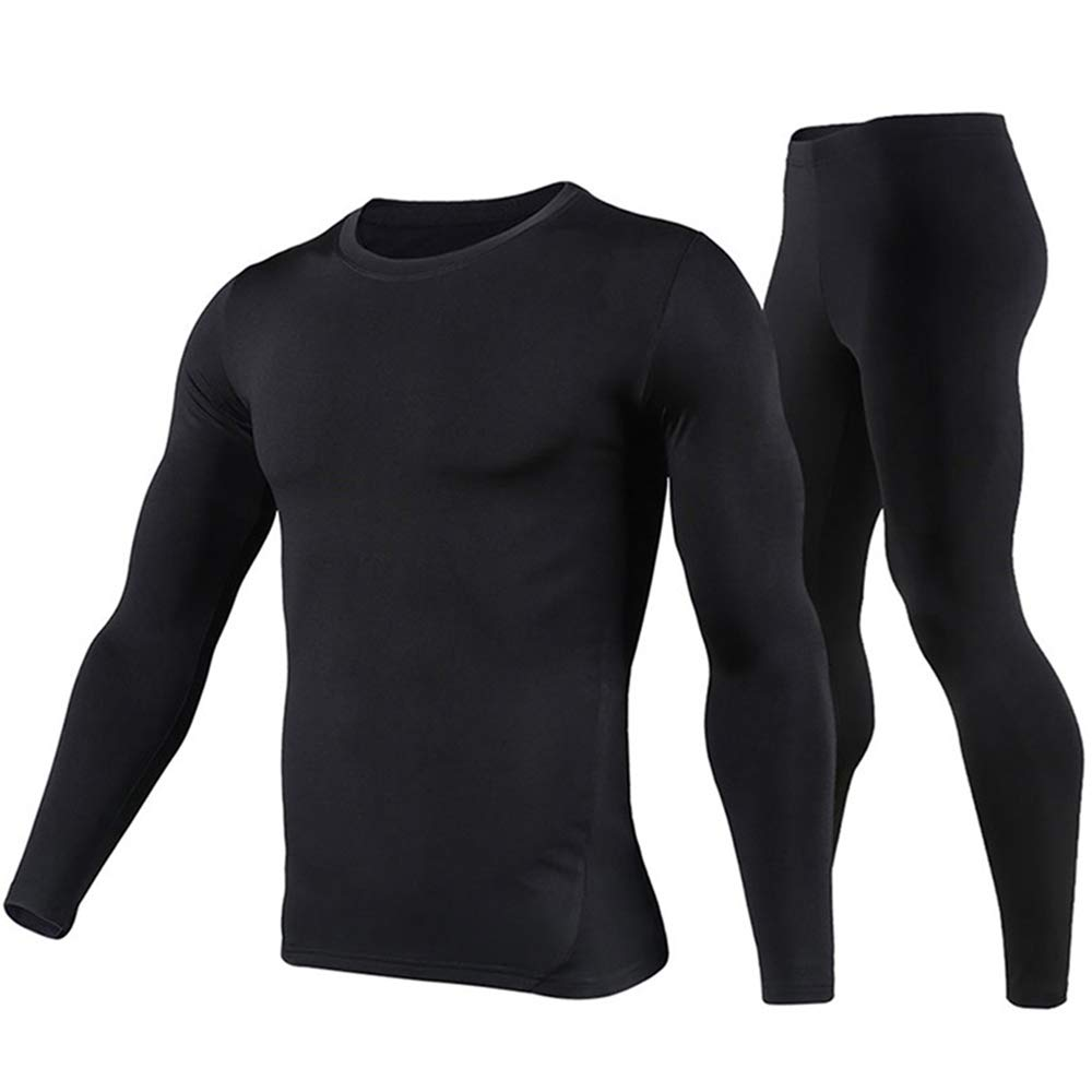 Thermal Underwear Men Ultra-Soft Long Johns Set Fleece Lined Base Layer Skiing Winter Warm Top & Bottom Black by PISIQI