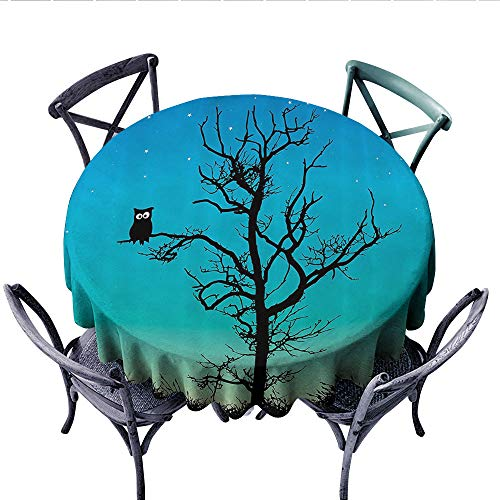 (Owls Home Decor Collection Customized Round Tablecloth Owl in a Naked Winter Tree Under Clear Night Sky with Stars Grass Goodnight Image Waterproof Circle Tablecloths (Round, 36 Inch, Aqua Blue Black))