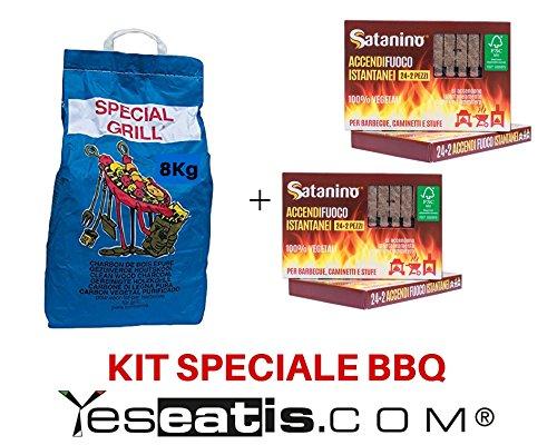Kit Barbecue YesEatIs - 8 Kg Carbobois Holzkohle + 48 Sofortige Beleuchtet Brikett Satanino - 100% vegetael