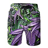 Purple Weed Leaf Mens Casual Quick-Drying Swim Surf Shorts