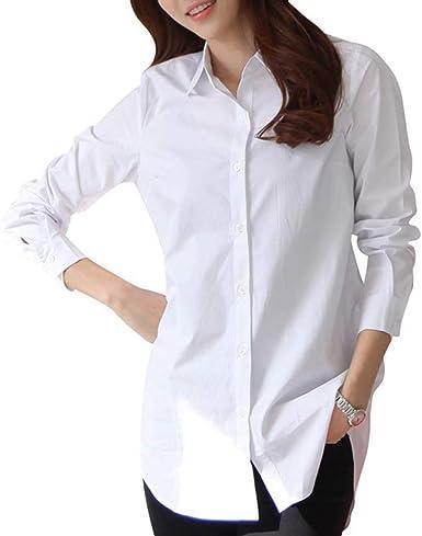Blusa para Mujer - Blusas Blancas De Manga Larga Camisas con Cuello Blusa Camisa - Tops Sueltos De Otoño Cuello Vuelto Manga Larga - 100% Algodón: Amazon.es: Ropa y accesorios
