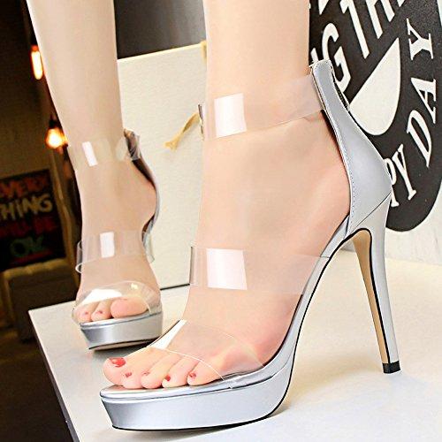 Stiletto Sandalias Tacones Plataforma Boda Mujer Peep Toe Charol eI2YEH9DW