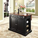 Crosley Furniture KF30007BK Drop Leaf Kitchen Island/Breakfast Bar, Black