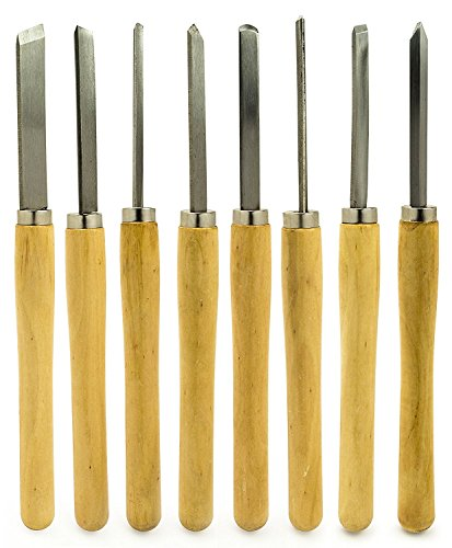(Bastex Professional Quality Wood Turning Chisel 8 pcs Set Included Lathes: 2 Skew 1 Spear Point 1 Parting 1 Round Nose & 3 Gouge Tools for Wood Working Professionals or Hobbyist. Starter Pack Kit)