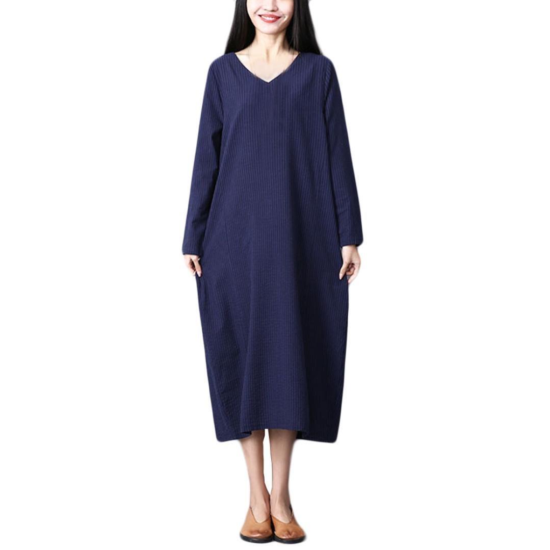 Hmlai Clearance Women Linen Cotton Vintage Long Sleeve V-Neck Baggy Plus Size Long Maxi Dress (Blue, M/(US 8))