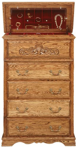 Cedar Oak Dresser (Bebe Furniture Country Heirloom Collection 5 Drawer Safe Top Chest, Medium)