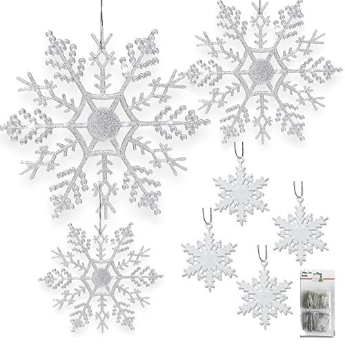 "BANBERRY DESIGNS Snowflake Christmas Ornaments - Set of 80 Snowflakes - 2"" D White Snowflakes - 4"" D Clear Iridescent Snowflakes - 5"" D Clear Iridescent Snowflakes - 6"" D Clear Iridescent Snowflakes"