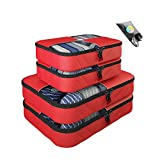 Packing Cubes -5 pc Value Set Luggage Organizer - 2 Large & 2 Medium + Bonus Shoe Bag Included - By Bingonia Travel Accessories (Red)