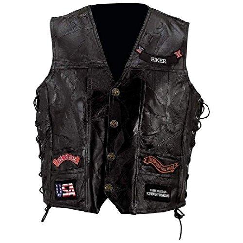(Mens Black Leather Motorcycle Vest W/ 14 Patches Us Flag Eagle Biker)