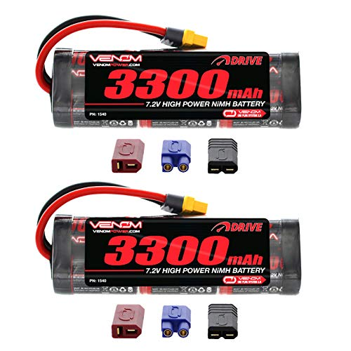 -Cell NiMH Battery with Universal 2.0 Plug (Traxxas / Deans / EC3) x2 Packs ()