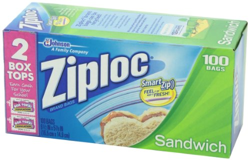 Ziploc Sandwich Bag Value Pack, 100 Count (Pack of 3)