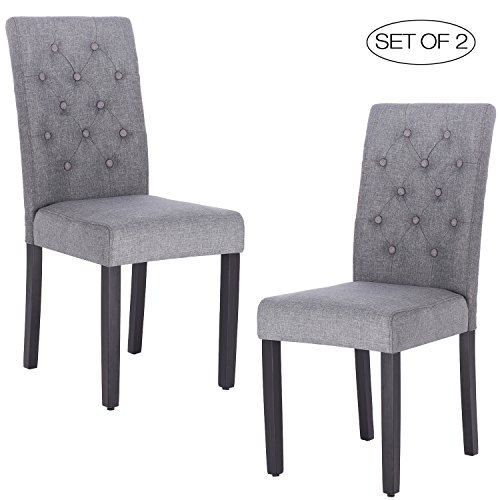 ZXBSWELE Modern Tufted Solid Wood Padded Parsons Chair for Dining Room Living Room, Grey (Retro Sale For Couch)
