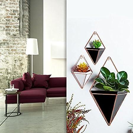 ZREAL 2 Pcs//Set Hanging Vases Geometric Wall Decoration Container for Succulent Plants Mini Cactus