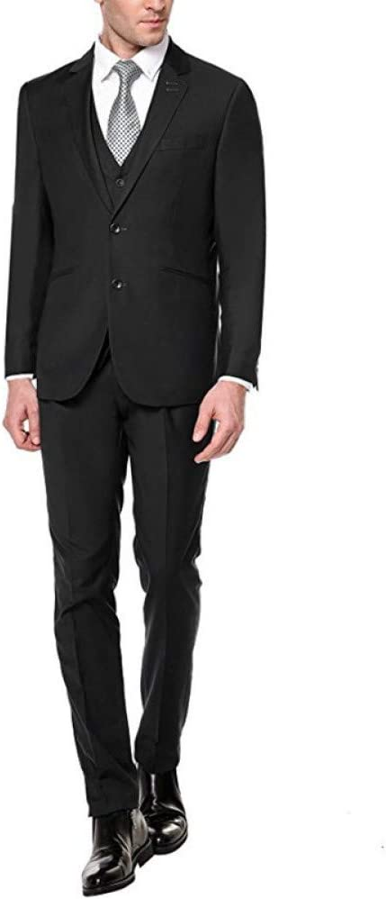 GFRBJK Hombres a Medida Slim Fit Pico Traje de Solapa Blazer Chaqueta Tux Chaleco y Pantalones Trajes de Traje de 3 Piezas (Chaqueta + Pantalones + Chaleco) Rt338, como se Muestra en