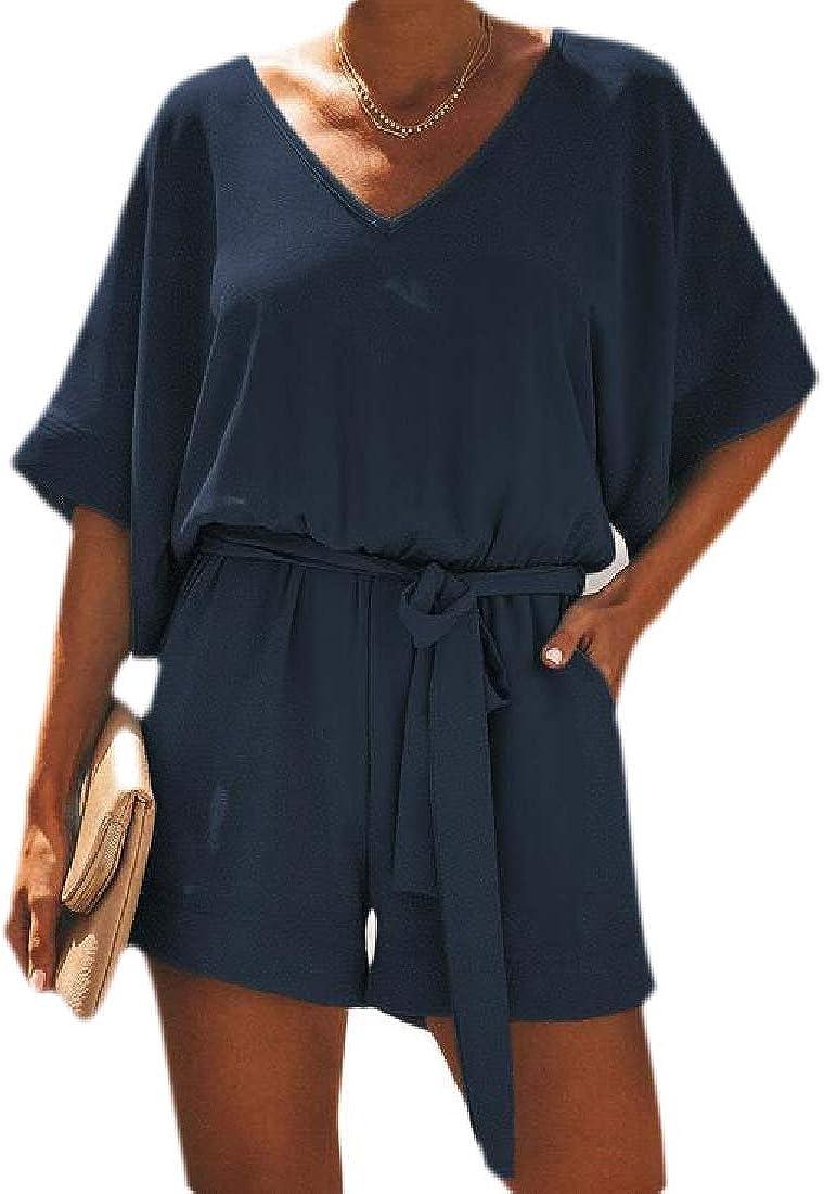 RRINSINS Women Summer V Neck Batwing Sleeve Elastic Waist Shorts Jumpsuit