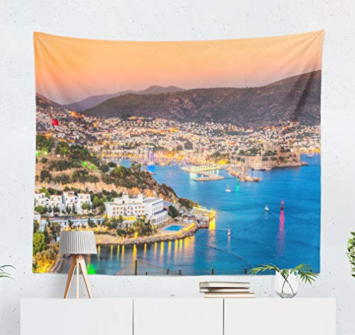 KJONG Castle and Turkey Turkey Yacht Castle Hotel Beach People Destination Boat Decorative Tapestry,60X50 Inches Wall Hanging Tapestry for Bedroom Living Room ()