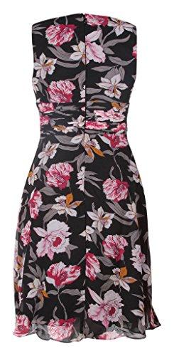 gasa My Dress Black Evening Print Vestido pico Pink corto Floral en fiesta cóctel cuello qqA0Cn4w