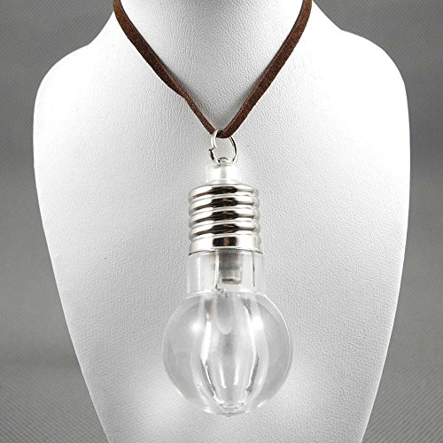 Lightbulb Costumes (1 Pieces Necklace Pendent Jewelry Fashion Decoration Costume Retro Jewellery Collier Long Chain 65973 Multi Color LED Light Bulb Change Color)