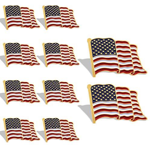 Anley Flag Lapel Pin - Waving US Flag Pins Patriotic American Emblem - Exquisite Enamel & Vivid Color & Lightweight & Durable - 10 Pin