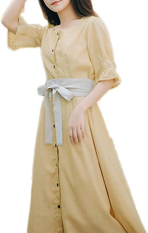 Vestido, Cintura, Cuello Cuadrado, Falda Larga, 2 Colores, 3 ...