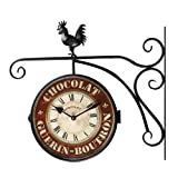 "Cheap Asense Black Iron Round ""Chocolate"" Double-Sided Wall Hanging Clock with Scroll Wall Mount and Rooster atop"