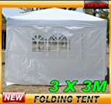 Outsunny 3mx3m Pop Up Gazebo Party Tent Canopy Marquee Waterp Resistant Free Storage Bag White