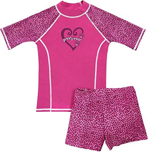 grUVywear UV Sun Protective UPF 50+ Girls UV Rashguard 2 pc Swim Top & Short Set (L 9-10, Pink Panther)