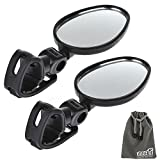 EEEKit Rearview Mirror Bundle for Bike Bicycle Cycling,2 Pack Universal Mini Rotaty Rearview Handlebar Glass Mirror and EEEKit Accessories Pouch