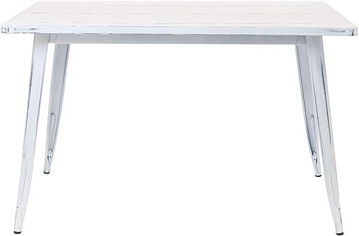 SKLUM Mesa LIX Vintage (120x80) Acero Mate Blanco Roto - (Elige ...