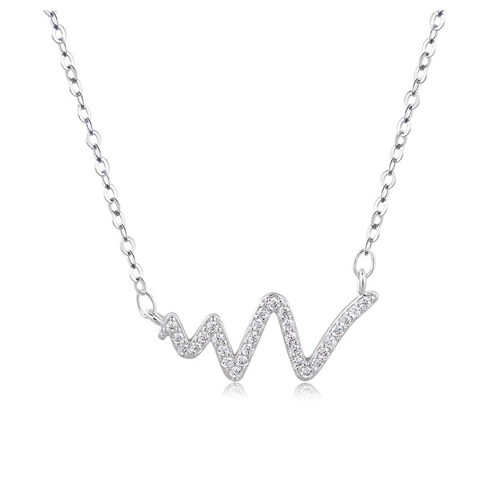 CHOA Small fresh Art Fashion Diamond Drill Heartbeat Crystal Short Paragraph Pendant Female Korean Version of The Clavicle Necklace