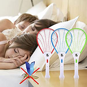 WALLER PAA Portable Mosquito Swatter Electric Bug Insect Fly Zapper Bug Racket Killer Pest