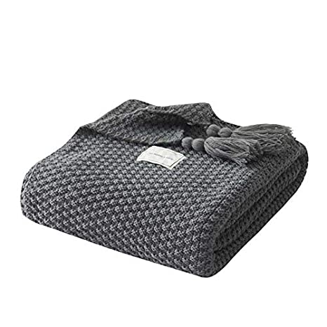 Amazon.com: XMZFQ Knitted Throw Blanket with Fringe ...