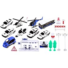 ZZ Elite Police Force Mini Diecast Children's Kid's Toy Vehicle Playset w/ Variety of Vehicles, Accessories