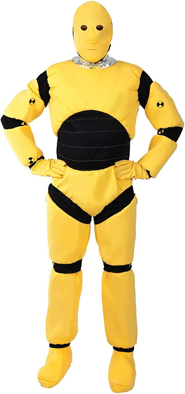ADULT CRASH TEST DUMMY SECOND SKIN COSTUME Yellow Bodysuit Fancy Dress Outfit