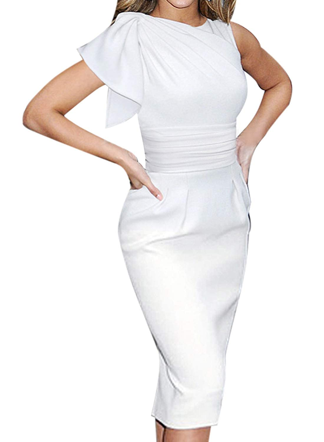 Off White VfEmage Women's Celebrity Elegant Ruched Wear to Work Party Prom Bodycon Dress