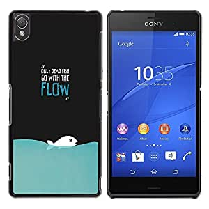 LECELL -- Funda protectora / Cubierta / Piel For Sony Xperia Z3 D6603 / D6633 / D6643 / D6653 / D6616 -- Only Dead Fish Go With The Flow Funny Deep --