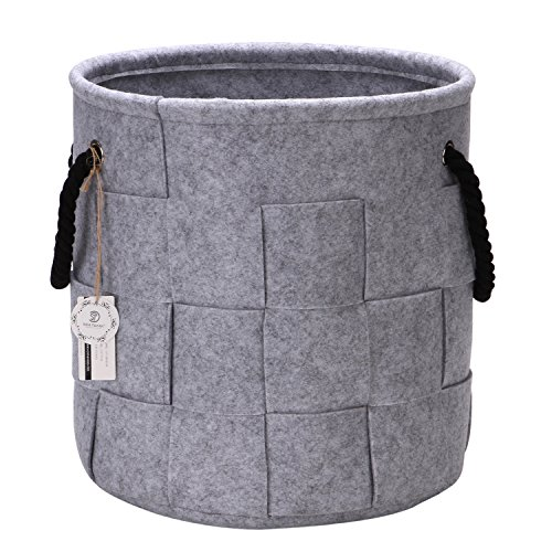 Sea Team 13.4 inches Cross Pattern Felt Storage Basket Nursery Storage Bin Toys Hamper with Rope Handles for Kid's Room, Gray by Sea Team