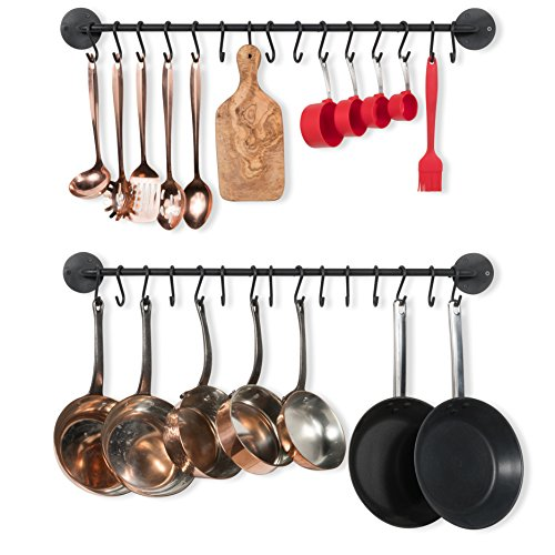 Pot Rack Small Iron (Wallniture Kitchen Pot Racks, Set of 2 Wall Rails + 20 Hooks, Solid Iron, 33