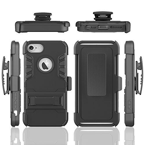iPhone 7 Coque, Moonmini; Heavy Duty Armor Hard Back Housse Coque avec kickstand pour Apple iPhone 7 - Noir