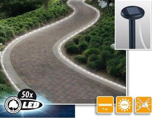 MQ Solar-Schlauch Solar Lichterkette 50 LED Solarlampe Wegbeleuchtung Licht Neu