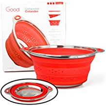 """Collapsible Colander with Stainless Steel Base (Extra Large 9.5"""" Diamater)- 100% Food Grade Silicone and BPA Free"""
