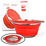 Collapsible Colander with Stainless Steel Base (Extra Large 9.5'' Diamater)- 100% Food Grade Silicone and BPA Free