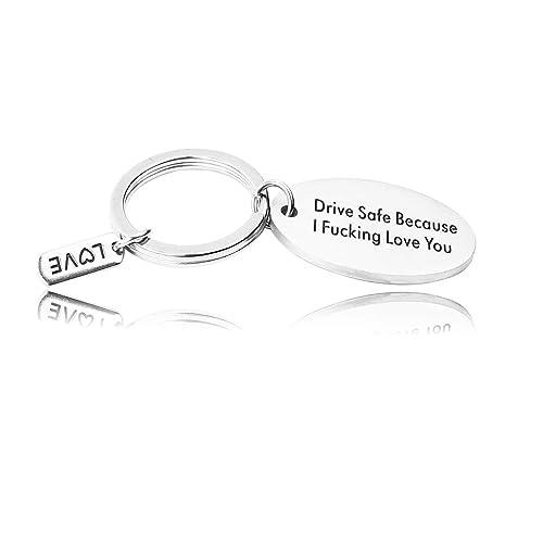 AZFEIYA Drive Safe Keychain,Becasue I Fucking Love You Trucker Husband Gift  for Husband Dad Boyfriend Gift Valentines Day Stocking Stuffer