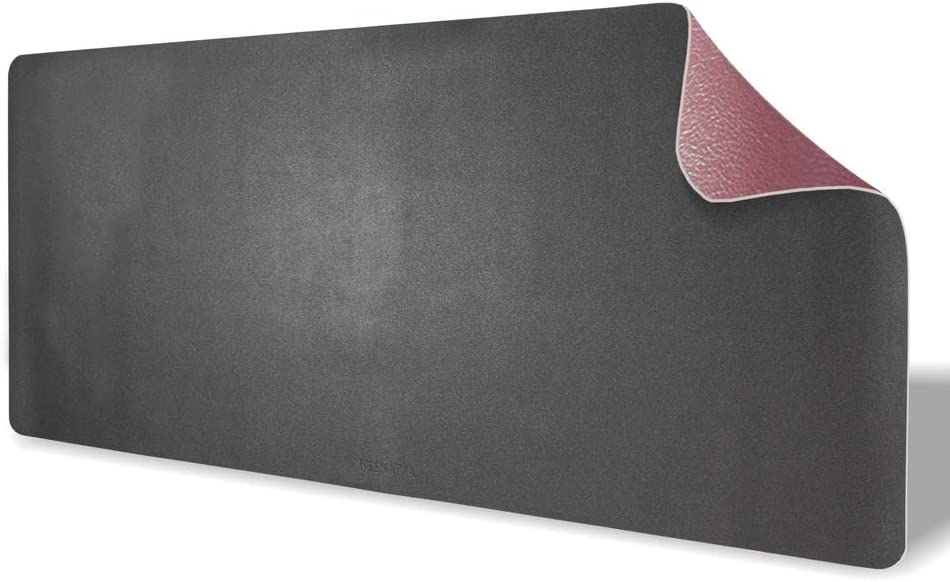 Deskadia Waterproof Dual Sided Two Duo Tone PU Vegan Leather Desk Mat, Large Desktop Setup Writing Mouse Pad for Home Office Kids Study Gaming Decor Protector (Graphite/Mauve, 36 x 17 x 0.8)