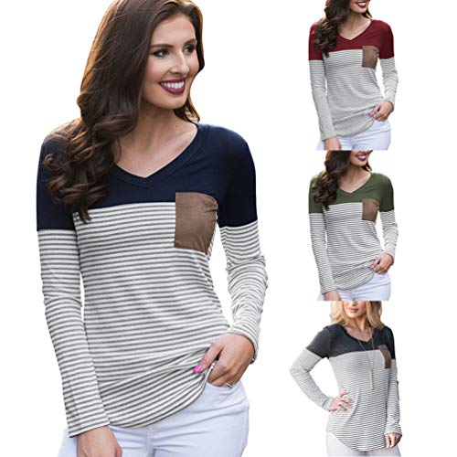 Rayures Chemises Baseball Tee Tops Shirt Manches Femmes Slim Verte Colorblock de Casual Longues Sentaoa Arme 8XqSwf
