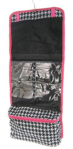 Pink Trim Houndstooth Hanging Cosmetic Makeup Bag