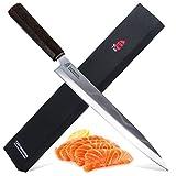 """Yanagiba Knife for Sashimi Sushi and Fish- Japanese Damascus Steel Slicing Knife-Ebony Handle- TUO Yanagiba 8.25"""""""